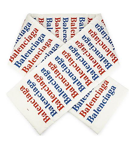 BALENCIAGA Padded logo scarf (White+red