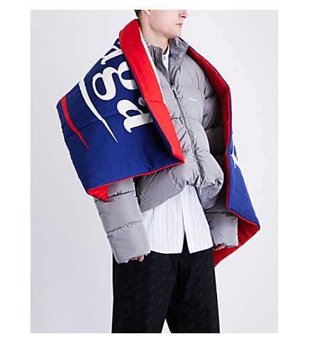 BALENCIAGA Padded logo scarf (Sapphire+red