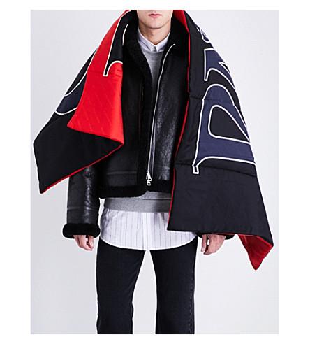 BALENCIAGA Logo silk-wool scarf (Sapphire+red
