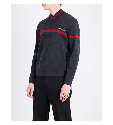 BALENCIAGA V-neck wool-blend jumper (Anthracite