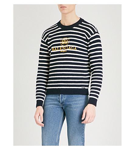 BALENCIAGA Logo-embroidered wool-blend jumper (Marine+blanc