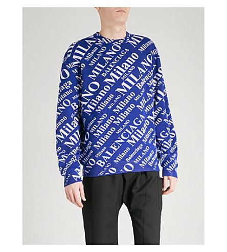 BALENCIAGA Logo-jacquard wool-blend jumper (Bleu+blanc