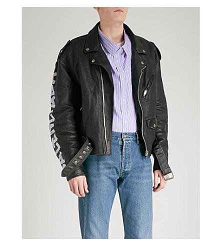 BALENCIAGA Painted logo leather biker jacket (Noir