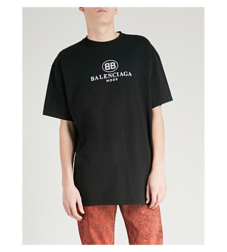 BALENCIAGA BB Mode-print cotton-jersey T-shirt (Noir