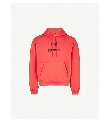 BALENCIAGA Europe-print cotton hoody (Rouge