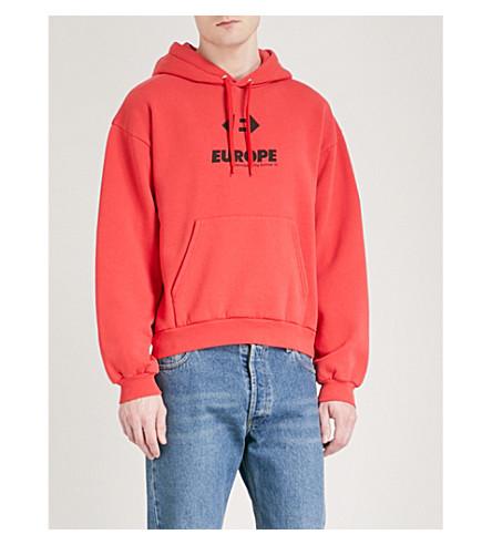 BALENCIAGA Europe-print cotton hoody (Rouge