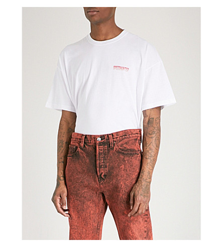 BALENCIAGA Speedhunter cotton-jersey T-shirt (Blanc+rouge