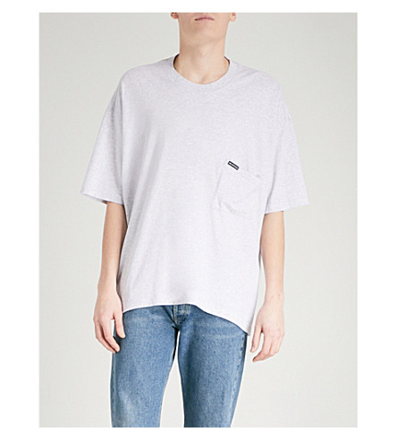 BALENCIAGA Oversized cotton-jersey T-shirt (Gris+chine+clair