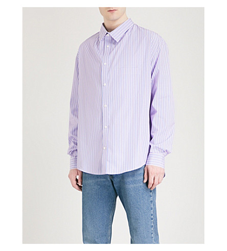 BALENCIAGA Oversized cotton-poplin shirt (Bleu+blanc+rouge