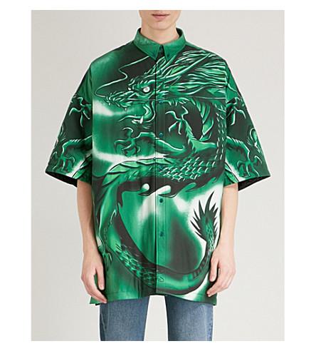 BALENCIAGA Dragon-print padded cotton shirt (Vert