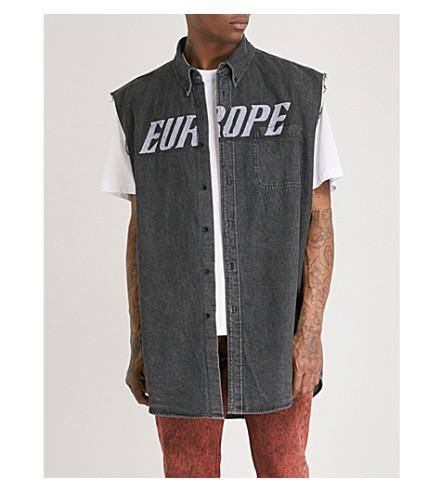 BALENCIAGA Europe sleeveless denim shirt (Vintage+black