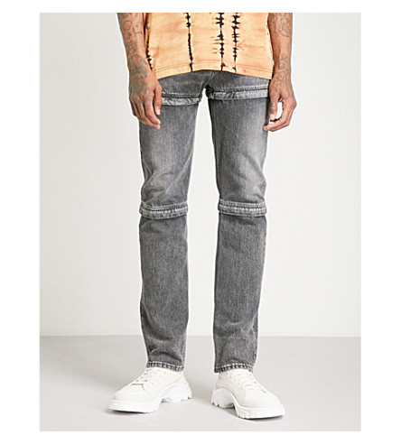 BALENCIAGA Zipped adjustable regular-fit straight jeans (Dirty+gray