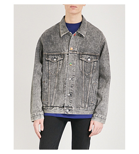 BALENCIAGA Europe embroidered denim jacket (90s+black+snow