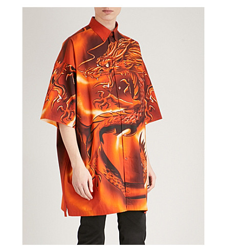 BALENCIAGA Dragon-print oversized cotton shirt (Orange