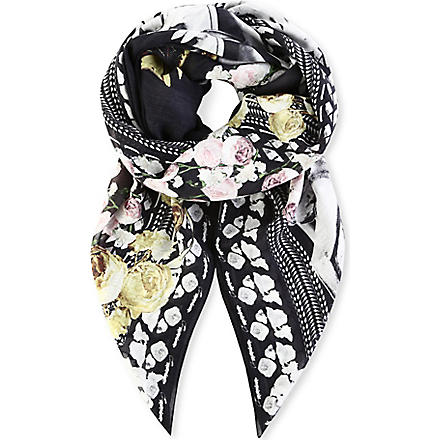 GIVENCHY Mermaid Shark Rose scarf (Black