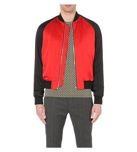 JONATHAN SAUNDERS Clarke satin bomber jacket (Red/black