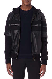 GIVENCHY Leather-panelled hooded jacket
