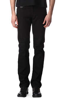 GIVENCHY Leather-panel slim-fit straight jeans