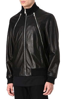 GIVENCHY Zip panel leather bomber jacket