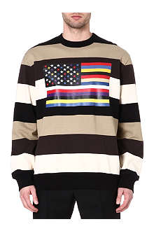 GIVENCHY Striped flag-print sweatshirt
