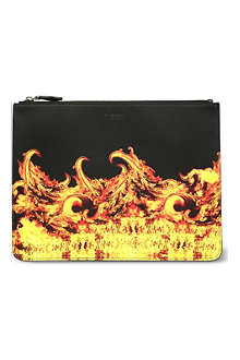 GIVENCHY Flame print leather pouch