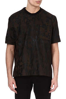 GIVENCHY Perforated leather camo t-shirt