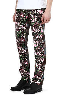 GIVENCHY Camouflage and rose-printed slim-fit jeans