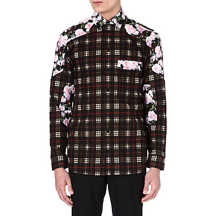 GIVENCHY Rose-panel checked shirt (Black/pink