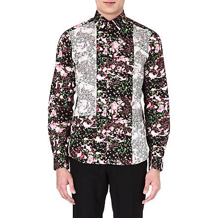 GIVENCHY Floral-printed patchwork shirt (Pink/green/black