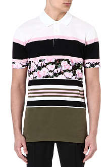 GIVENCHY Stripe roses polo shirt