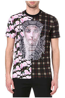 GIVENCHY Check roses split t-shirt