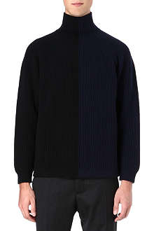 JIL SANDER Two-tone ribbed roll-neck jumper