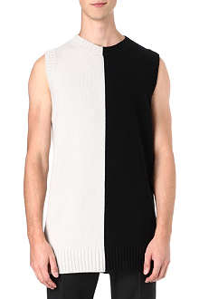 JIL SANDER Bi-colour long length sleeveless knit top