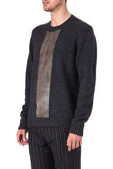 JIL SANDER Calf hair-panelled knit jumper