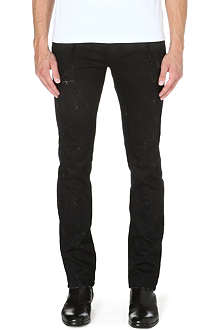 ROBERTO CAVALLI Mud-print slim-fit tapered jeans