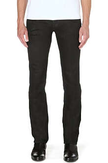 ROBERTO CAVALLI Destroyed wax slim-fit tapered jeans