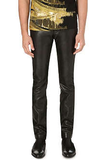 ROBERTO CAVALLI Leather slim-fit tapered trousers