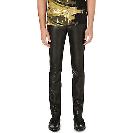 ROBERTO CAVALLI Leather slim-fit tapered trousers (Black