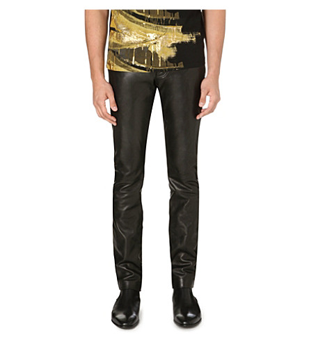 ROBERTO CAVALLI Leather slim-fit tapered trousers (Black