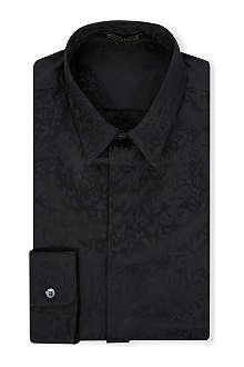 ROBERTO CAVALLI Leopard intarsia cotton shirt