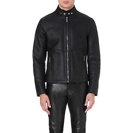 ROBERTO CAVALLI Shearling leather jacket (Black