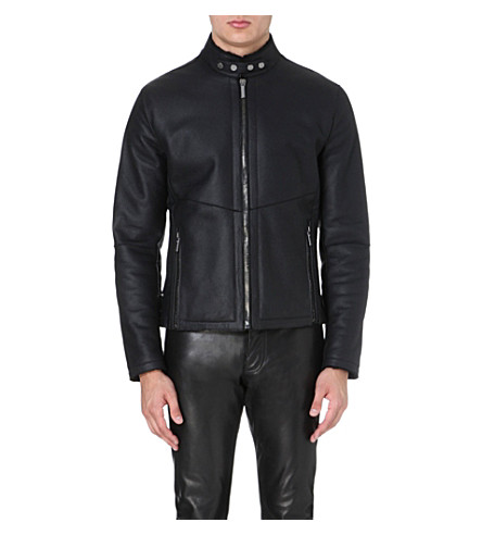 ROBERTO CAVALLI Shearling leather jacket (Black