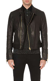ROBERTO CAVALLI Safety pin-embellished leather biker jacket