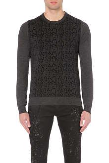 ROBERTO CAVALLI Snake-texture knitted jumper