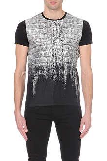 ROBERTO CAVALLI Crocodile print cotton-jersey t-shirt