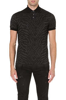 ROBERTO CAVALLI Flocked zebra-pattern polo shirt