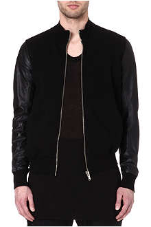 RICK OWENS DRKSHDW Leather-sleeved bomber jacket