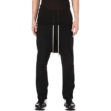 RICK OWENS DRKSHDW Wax cotton jogging bottoms (Black
