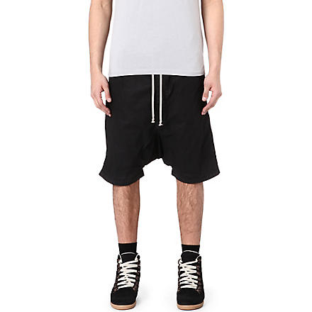RICK OWENS DRKSHDW Drop-crotch coated-denim shorts (Black