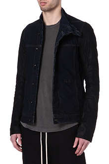 RICK OWENS DRKSHDW Leather-sleeve denim jacket